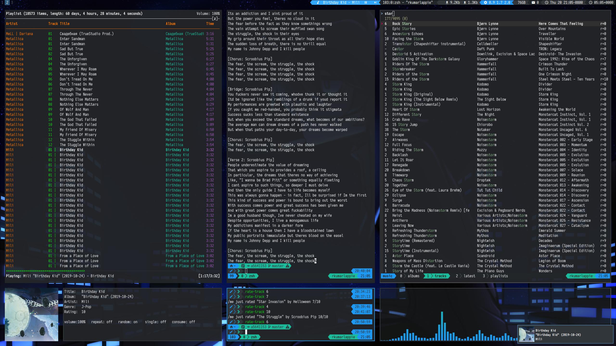 screenshot of my tiling terminal music setup